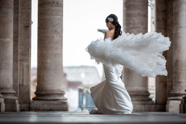 WEDDING italy dress 2022 trends rome columns bride